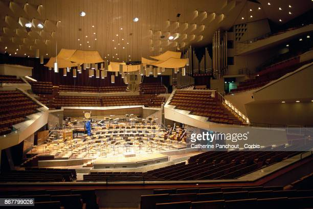 A general view of the interior of the main room of Berlin's Philharmonie built in 1963 by German architect Hans Scharoun on January 26 2003 in Berlin...