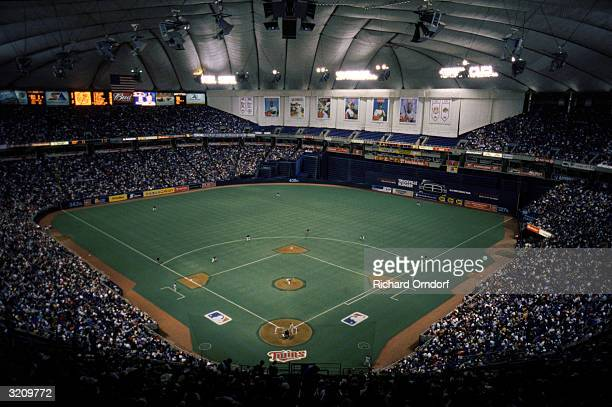 General view of the interior of the Minnesota Metrodome during a game in the 2002 MLB season in Minneapolis Minnesota