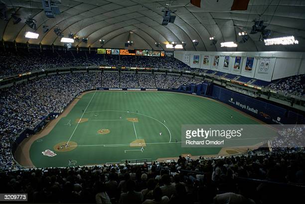 General view of the interior of the Minnesota Metrodome during a game on May 27 1997 in Minneapolis Minnesota