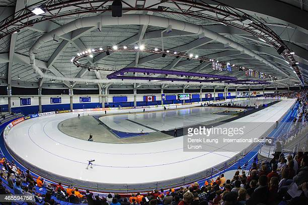 A general view of the interior of the Olympic Oval during the women's 5000m during the ISU World Allround Speed Skating Championships at Olympic Oval...