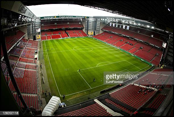 A general view of the interior of the Parken Stadium before the Superliga match between FC Copenhagen and Aalborg BK at the Parken Stadium on...