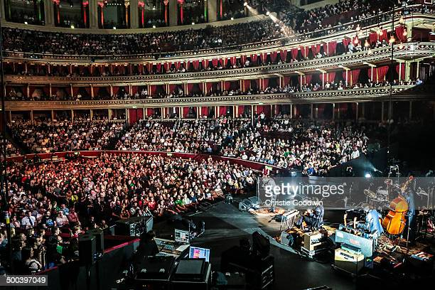 A general view of the interior of the Royal Albert Hall from the back of the stage with the auditorium illuminated as Mark Oliver Everett from Eels...
