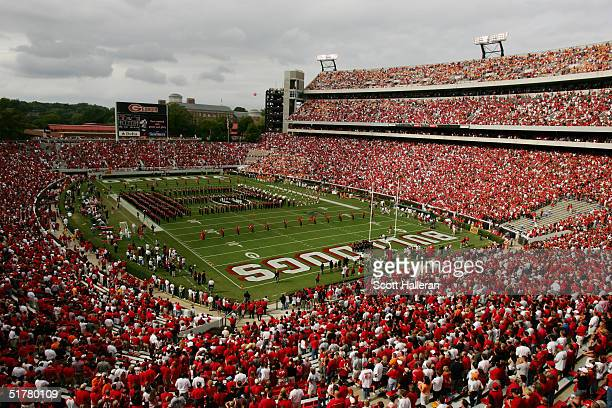 General view of the interior of the stadium before the game between the Tennessee Volunteers and the Georgia Bulldogs at Sanford Stadium on October 9...