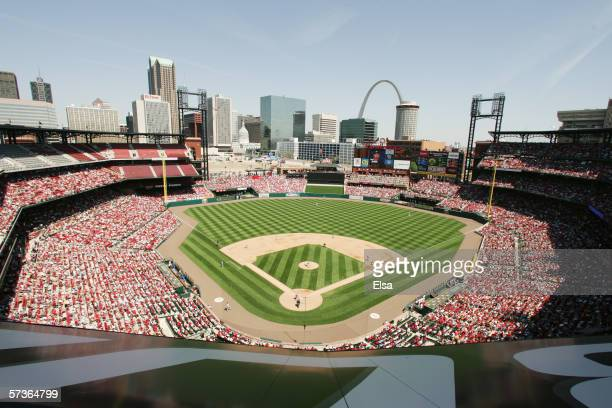 General view of the interior of the stadium during the game between the Milwaukee Brewers and the St Louis Cardinals on April 13 2006 at Busch...
