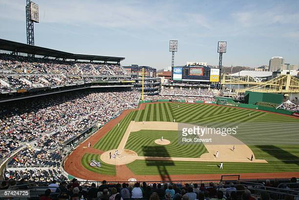 General view of the interior of the stadium during the home Opening Day game between the Los Angeles Dodgers and the Pittsburgh Pirates on April 10...