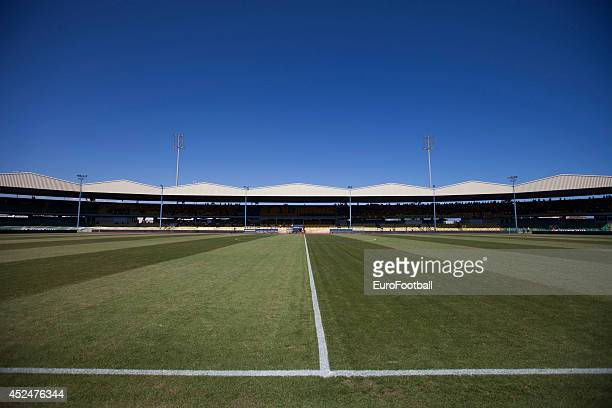 A general view of the interior of the Tsirion Stadium before the Cypriot First Division match AEL Limassol FC and APOEL FC at the Tsirion Stadium on...