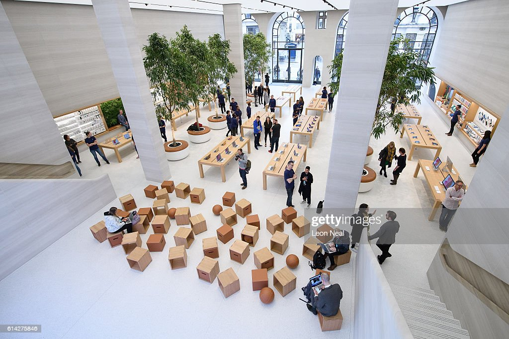 A general view of the interior of the upgraded Apple store on Regent Street on October 13, 2016 in London, England. Regent Street was Apple's first store in Europe, and has handled more than 60 million customers over the past 12 years, and will be the first store in Europe with the new design concept.
