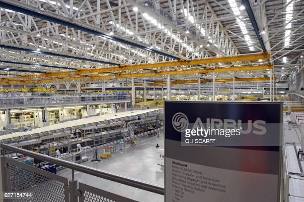 A general view of the interior of the wing production plant for the Airbus A350 aircraft at Airbus' site near Broughton in northeast Wales on...