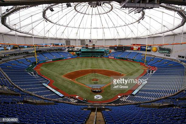 General view of the interior of Tropicana Field on May 26, 2004 in St. Petersburg, Florida.