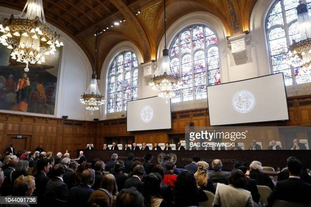 A general view of the International Court of Justice hearing in The Hague on October 1 2018 Chile's President Sebastian Pinera welcomed the rejection...