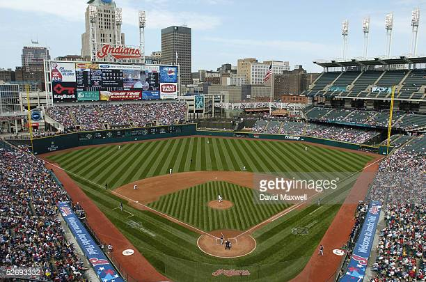 General view of the interrior of the stadium during the MLB game between the Minnesota Twins and the Cleveland Indians on April 17, 2005 at Jacobs...