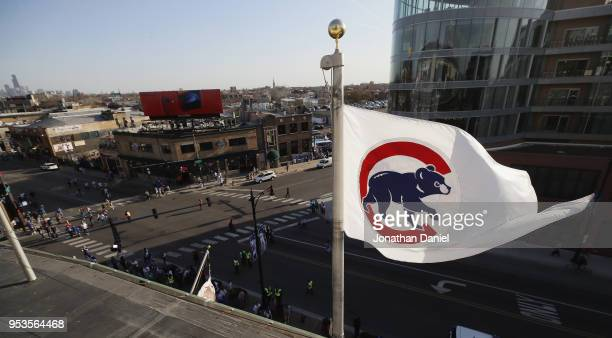 A general view of the intersection of Clark and Addison streets at Wrigley Field as the Chicago Cubs take on the Colorado Rockies on April 30 2018 in...