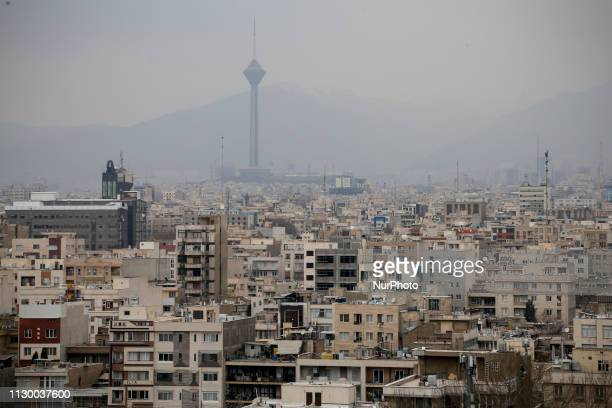 General view of the Iranian capital Tehran and the Milad tower on March 11, 2019.