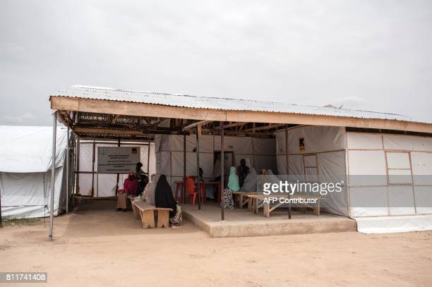 A general view of the IRC health clinic in Bakassi IDP Camp in Maiduguri in northeast Nigeria on July 7 2017 The International Rescue Committee in...