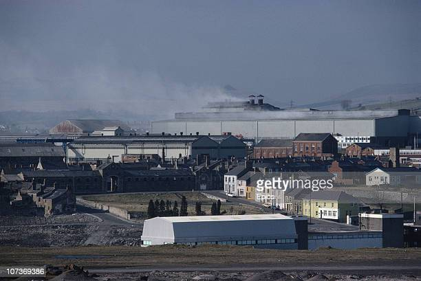 A general view of the iron and steelworks in Dowlais Merthyr Tidfil circa 1980