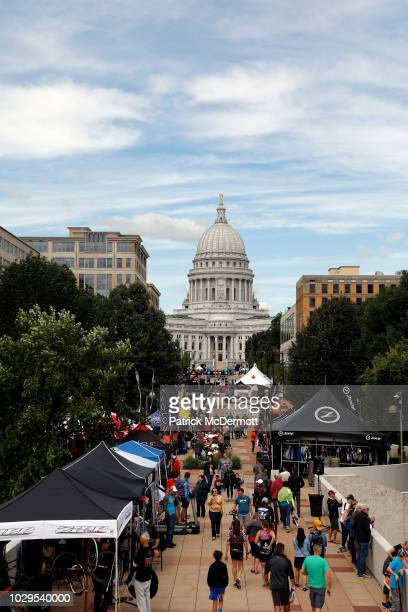 A general view of the Ironman village in front of the state capital building ahead of the IRONMAN Wisconsin on September 8 2018 in Madison Wisconsin