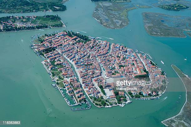 A general view of the Island of Burano seen during the Seawing tour above Venice on July 7 2011 in Venice Italy Seawings has started a new tour of...