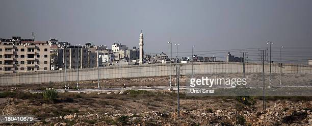 A general view of the Israeli West Bank barrier on September 12 2013 around Ramallah West Bank The twentyyear anniversary of the Oslo Accord which...