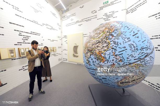 A general view of the Italian artist Emilio Isgrò's personal exhibition at Fondazione Cini on September 12 2019 in Venice Italy