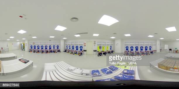 A general view of the Italy dresing room before the FIFA 2018 World Cup Qualifier between Albania and Italy at Loro Borici Stadium on October 9 2017...