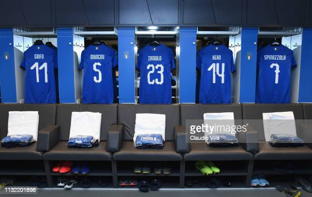 A general view of the Italy dressing room ahead of the 2020 UEFA European Championships group J qualifying match between Italy and Finland at Stadio...
