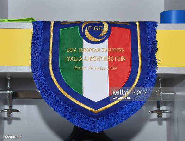 A general view of the Italy dressing room ahead of the 2020 UEFA European Championships group J qualifying match between Italy and Liechtenstein at...