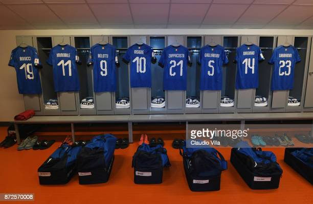 A general view of the Italy dressing room ahead of the FIFA 2018 World Cup Qualifier PlayOff First Leg between Sweden and Italy at Friends Arena on...