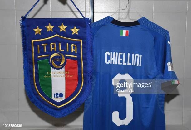 A general view of the Italy dressing room ahead of the International Friendly match between Italy and Ukraine on October 10 2018 in Genoa Italy