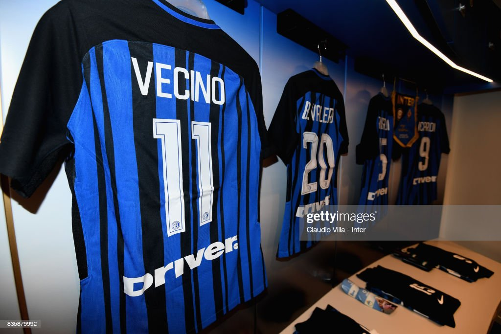 A general view of the Italy dressing room ahead of the Serie A match between FC Internazionale and ACF Fiorentina at Stadio Giuseppe Meazza on August 20, 2017 in Milan, Italy.