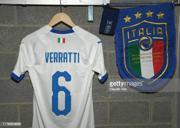 General view of the Italy dressing room ahead of the UEFA Euro 2020 qualifier between Liechtenstein and Italy on October 15, 2019 in Vaduz,...
