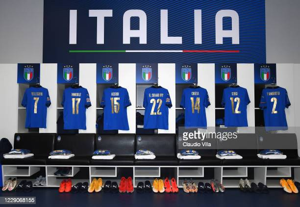 General view of the Italy dressing room ahead of the UEFA Nations League group stage match between Italy and Netherlands at Stadio Atleti Azzurri...