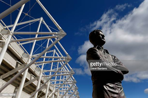 A general view of the Ivor Allchurch statue outside the stadium before the Barclays Premier League match between Swansea City and Hull City at...