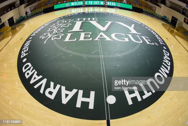General view of the Ivy League logo at center court prior to the college basketball game between Penn Quakers and Harvard Crimson on March 16 at John...