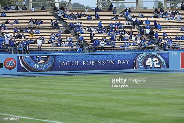 A general view of the Jackie Robinson Day logo on the outfield wall during batting practice before the game between the Los Angeles Dodgers and San...