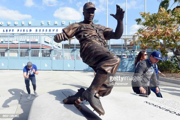 A general view of the Jackie Robinson statue outside Dodger Stadium prior to Game 7 of the 2017 World Series between the Houston Astros and the Los...
