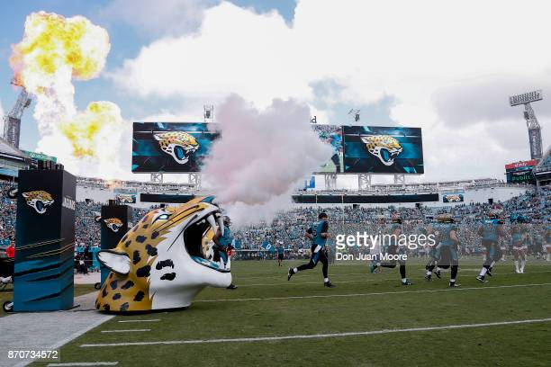 A general view of the Jacksonville Jaguars as they enter the field before the game against the Cincinnati Bengals at EverBank Field on November 5...