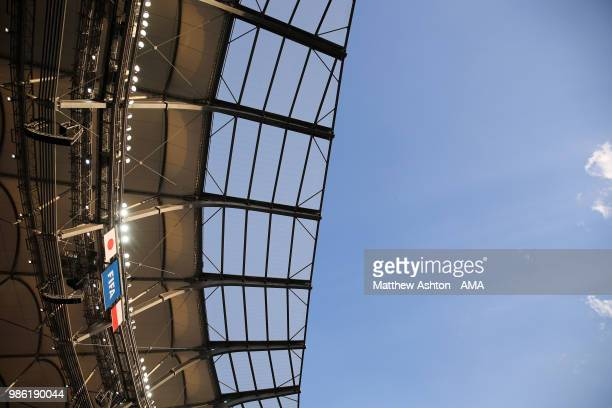 General View of the Japan Poland and FIFA flags Volgograd Arena roof and floodlights prior to the 2018 FIFA World Cup Russia group H match between...