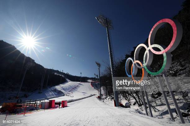 A general view of the Jeongseon Alpine Center during previews ahead of the PyeongChang 2018 Winter Olympic Games on February 4 2018 in Pyeongchanggun...