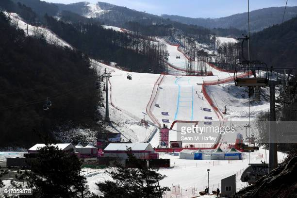 A general view of the Jeongseon Alpine Center on March 3 2017 in Jeongseongun South Korea