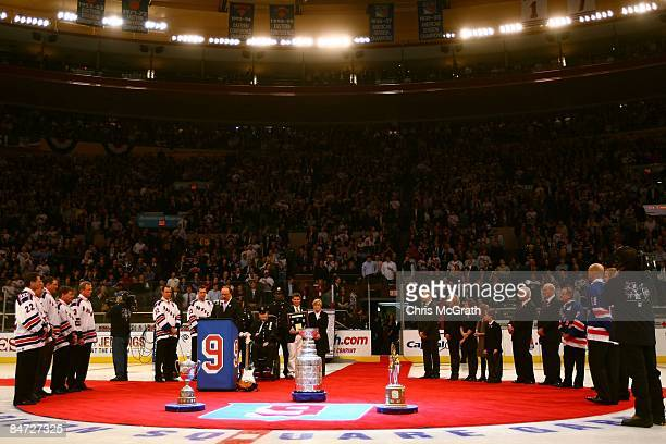 General view of the jersey retirement ceremony for former New York Rangers player Adam Graves prior to a game between the New York Rangers and the...