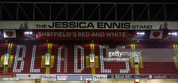 A general view of the 'Jessica Ennis' stand at Bramall Lane ahead of the FA Cup First Round Replay match between Sheffield United and Cewe Alexandra...