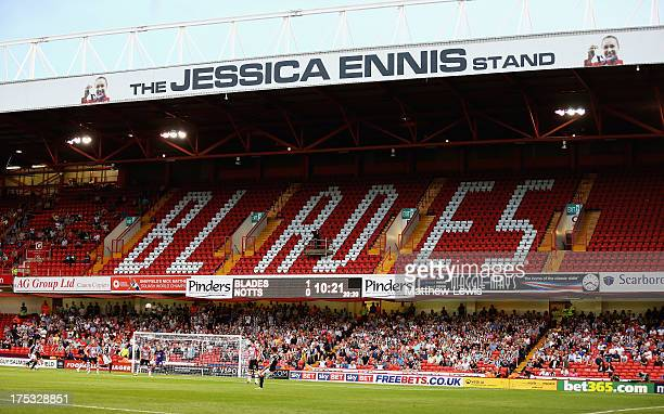 A general view of the 'Jessica Ennis' Stand during the Sky Bet League One match between Sheffield United and Notts County at Bramall Lane on August...