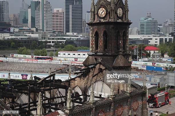 A general view of the Jiangbei Cathedral is seen after fire on July 28 2014 in Ningbo Zhejiang Province of China The 500 square meters burnt...
