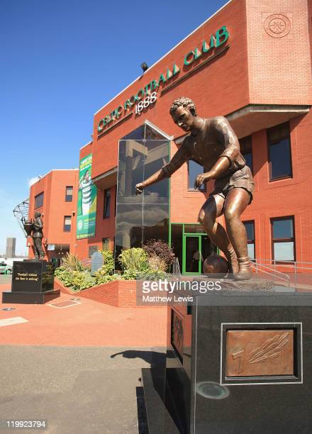A general view of the Jimmy Johnstone statue at Celtic Park on July 27 2011 in Glasgow Scotland