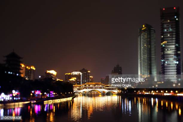 A general view of the Jin river and the Anshun Bridge on October 19 2018 in Chengdu China The southwestern Chinese city the capital of Sichuan...