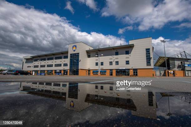 General view of the JobServe Community Stadium ahead of the Sky Bet League Two Play Off Semi-final 1st Leg match between Colchester United and Exeter...