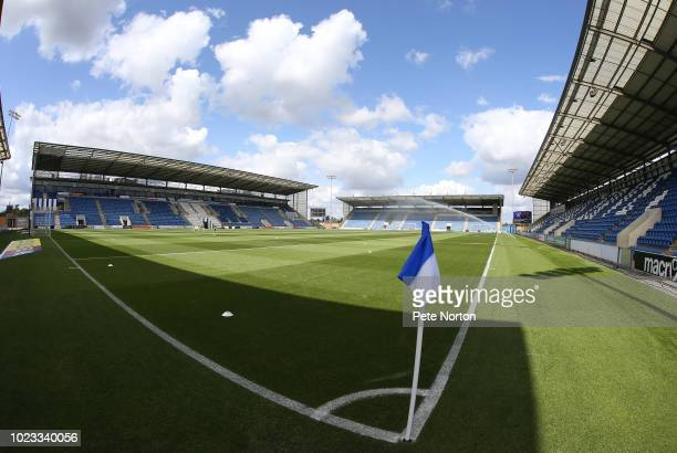 A general view of the Jobserve Community Stadium prior to the Sky Bet League Two match between Colchester United and Northampton Town at Jobserve...
