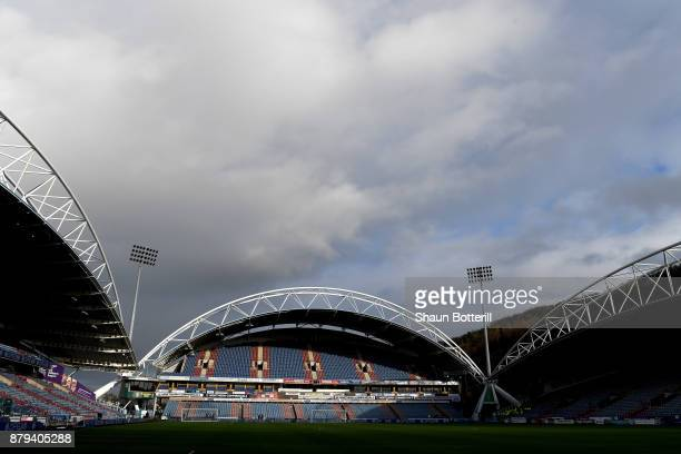 A general view of the John Smith's Stadium ahead of the Premier League match between Huddersfield Town and Manchester City at John Smith's Stadium on...