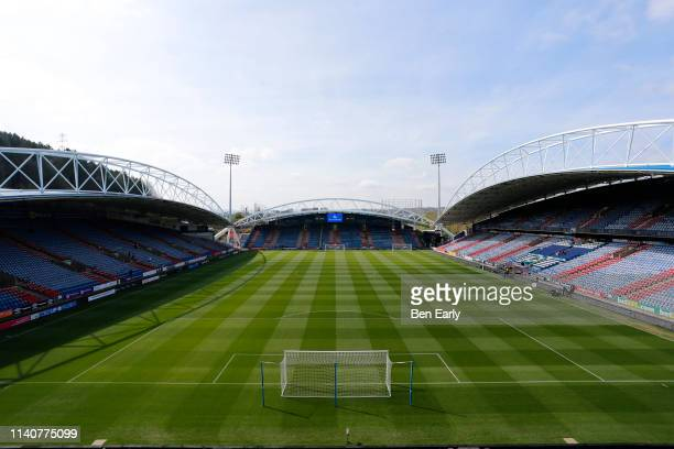 General view of the John Smiths Stadium before the Premier League match between Huddersfield Town and Leicester City at John Smith's Stadium on April...
