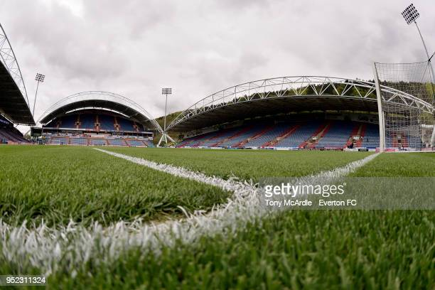 A general view of the John Smith's Stadium before the Premier League match between Huddersfield Town and Everton at the John Smith's Stadium on April...